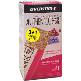 OVERSTIM.s Authentic Boîte De Barres 3+1 x 65g, red berries